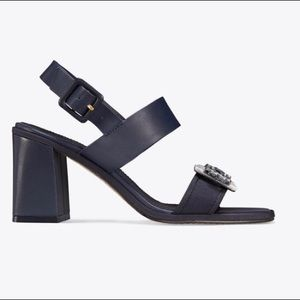 Tory Burch Delaney Block Heel Perfect Navy Shoe 9